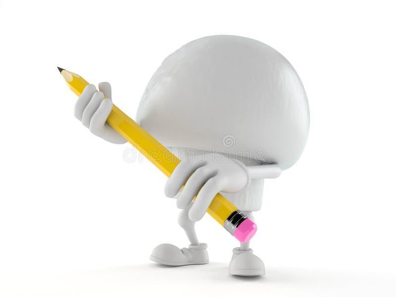 Caráter do cogumelo que guarda o lápis ilustração do vetor