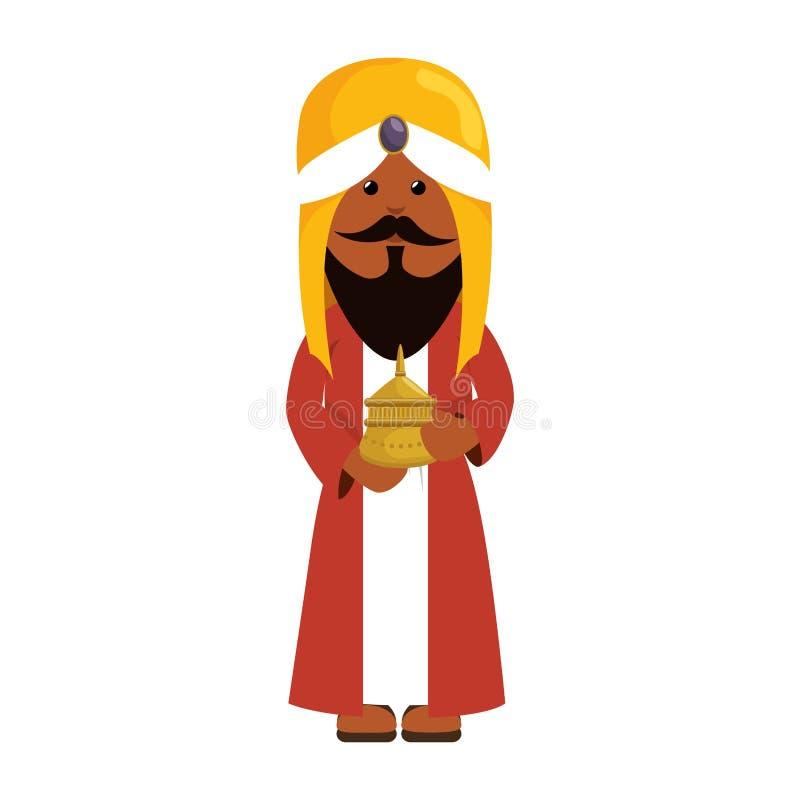 Caráter do comedoiro do esmagamento do homem sábio ilustração royalty free