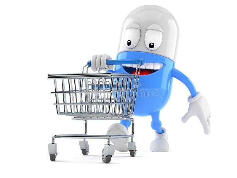 Caráter do comprimido com carrinho de compras ilustração do vetor