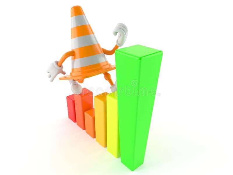 Caráter do cone do tráfego com carta ilustração do vetor