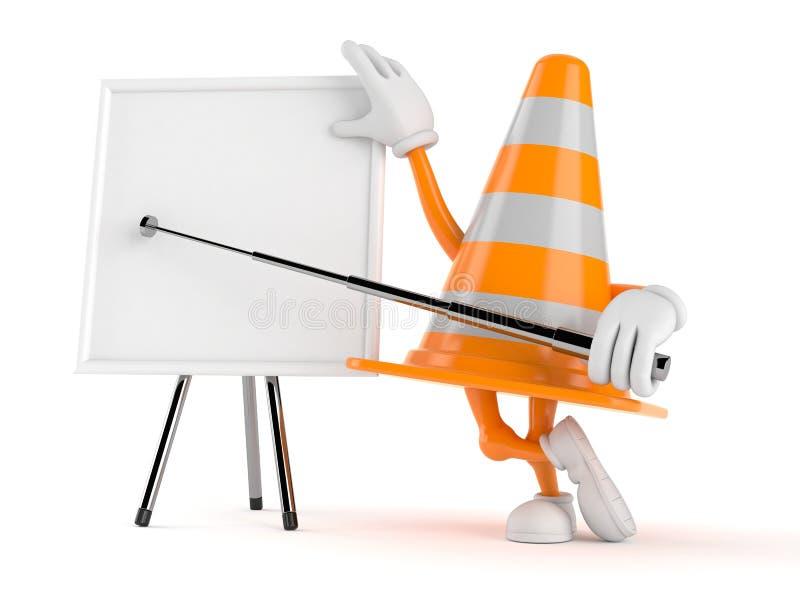 Caráter do cone do tráfego com whiteboard vazio ilustração stock