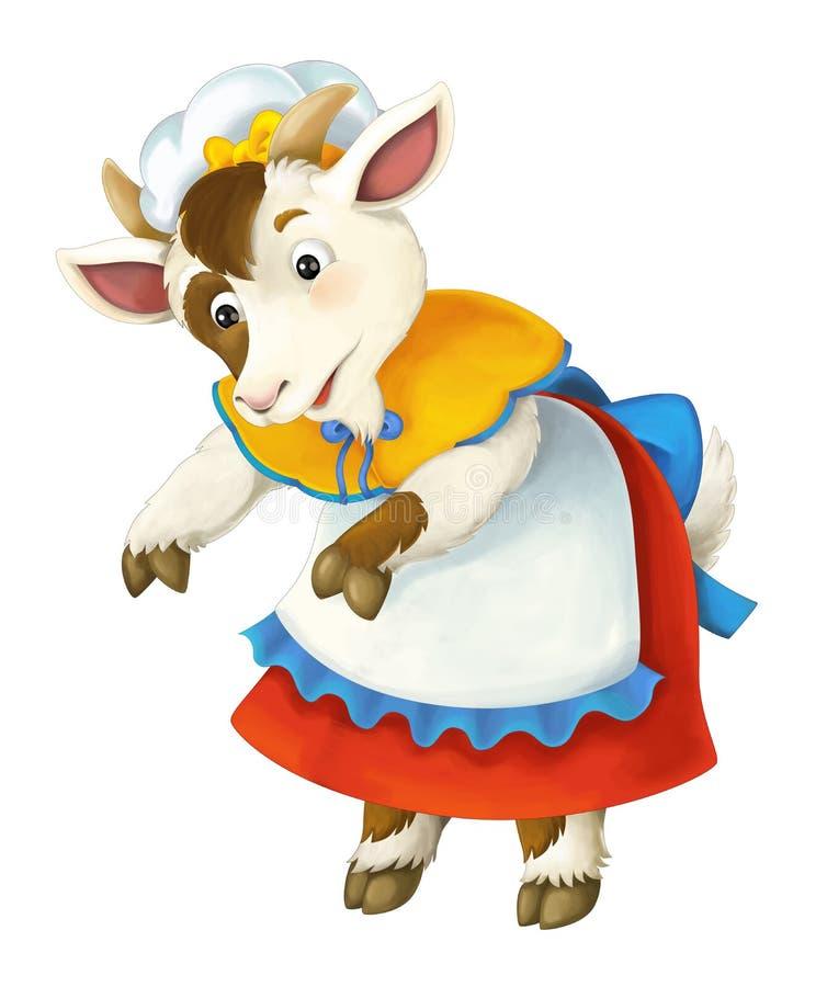 Caráter do conto de fadas dos desenhos animados para o uso diferente - sira de mãe à cabra que é cuidadosa sobre algo ou alguém ilustração stock