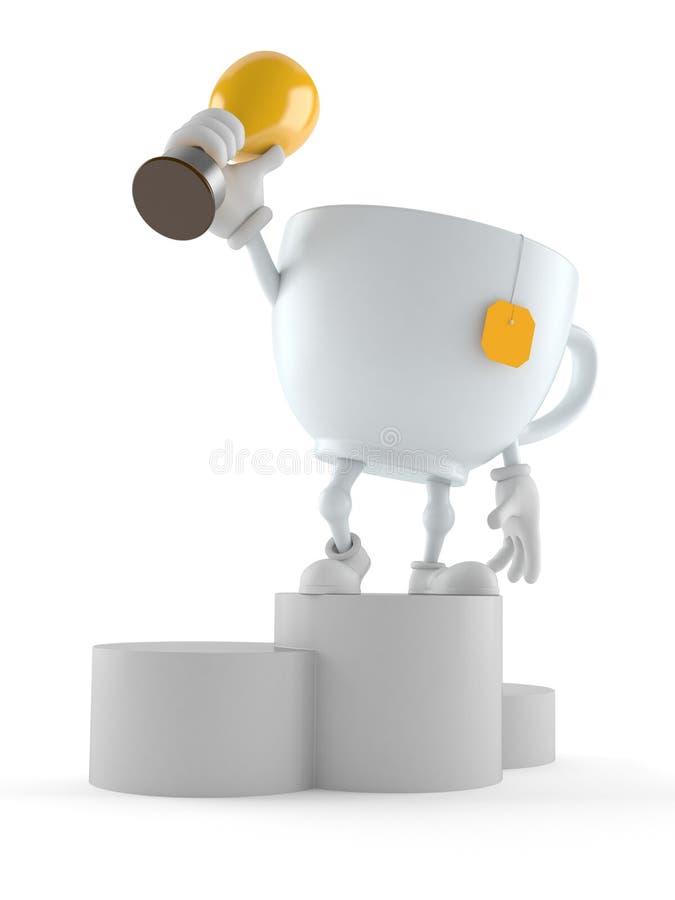 Caráter do copo de chá no troféu da terra arrendada do pódio ilustração do vetor