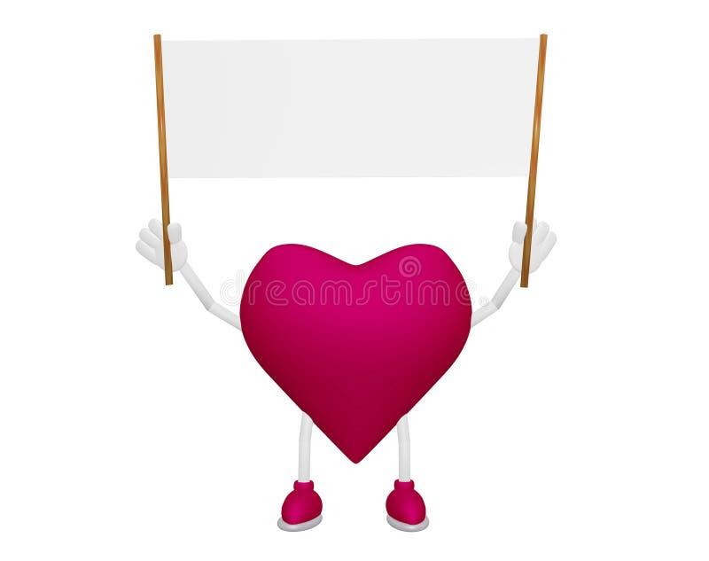 Caráter do coração com a flâmula da placa do quadro de avisos ilustração stock