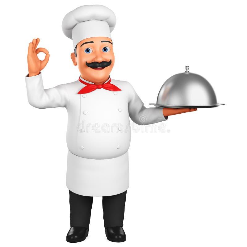 Caráter do cozinheiro chefe dos desenhos animados com mostrar do prato aprovado em um fundo branco rendi??o 3d Ilustra??o para an ilustração do vetor