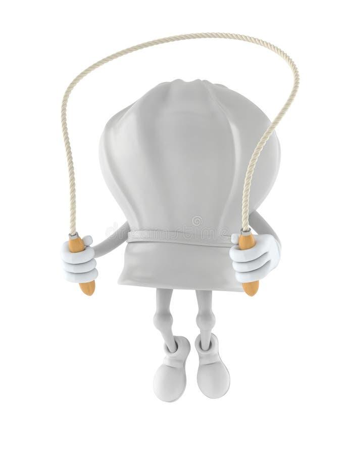 Caráter do cozinheiro chefe que salta na corda de salto ilustração do vetor