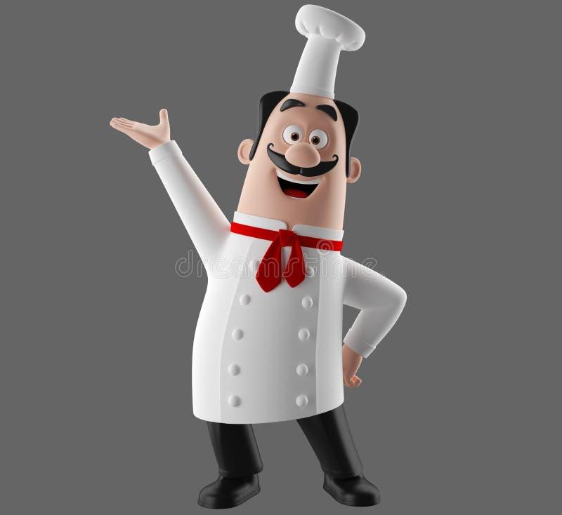 caráter do cozinheiro dos desenhos animados 3d ilustração stock