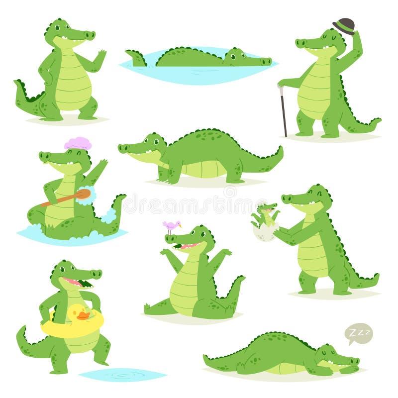 Caráter do crocodilian do vetor do crocodilo do jacaré verde que dorme ou que joga o setof criançola animalista da ilustração ilustração do vetor