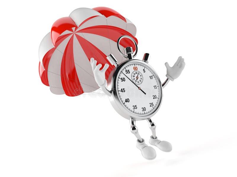 Caráter do cronômetro com paraquedas ilustração stock