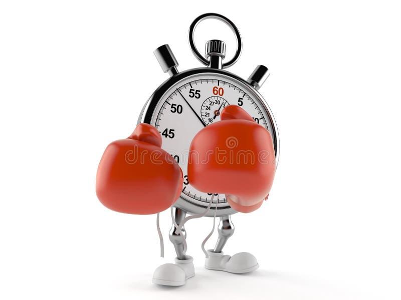 Caráter do cronômetro com luvas de encaixotamento ilustração royalty free
