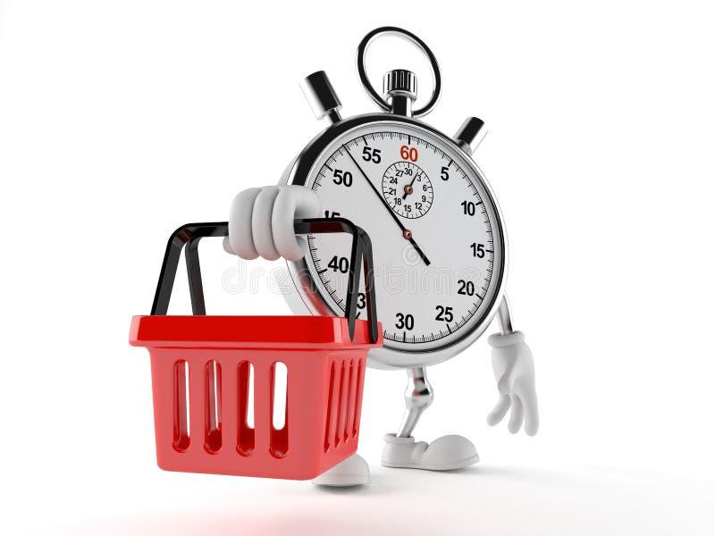 Caráter do cronômetro que guarda o cesto de compras ilustração stock