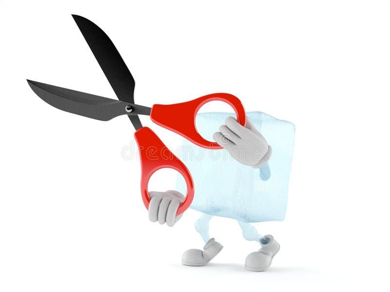 Caráter do cubo de gelo que guarda tesouras grandes ilustração royalty free