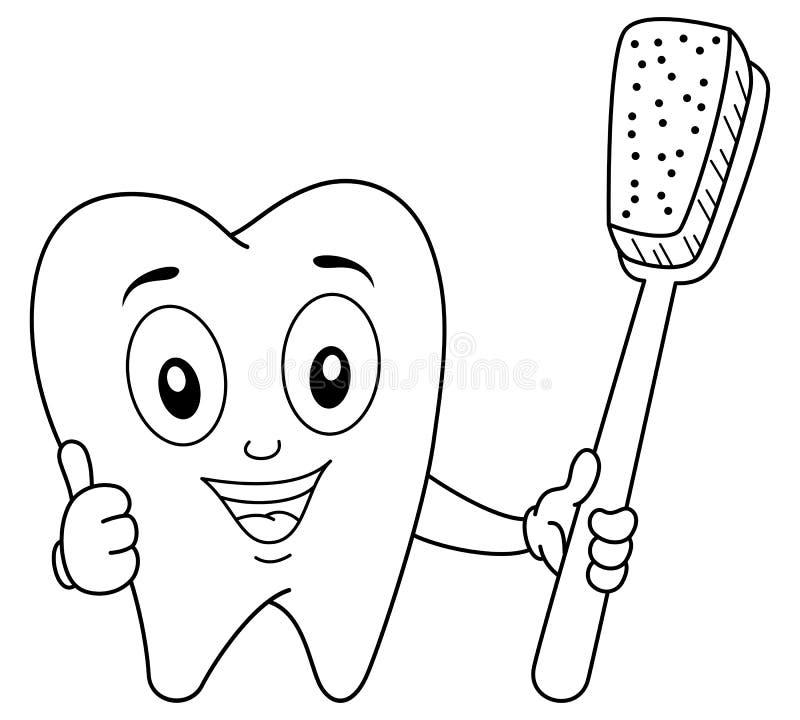 Caráter do dente da coloração com escova de dentes ilustração stock