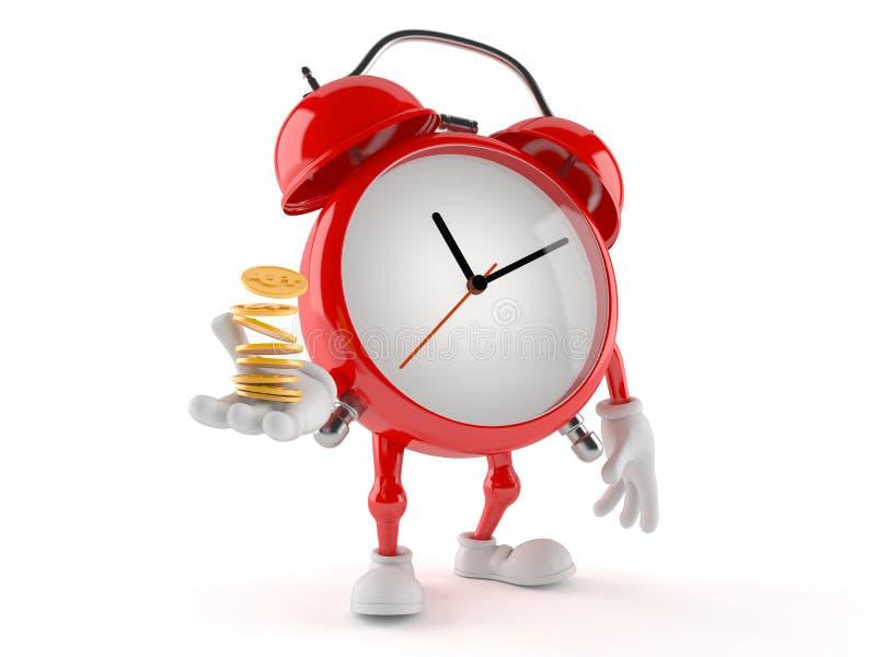 Caráter do despertador com moedas ilustração stock