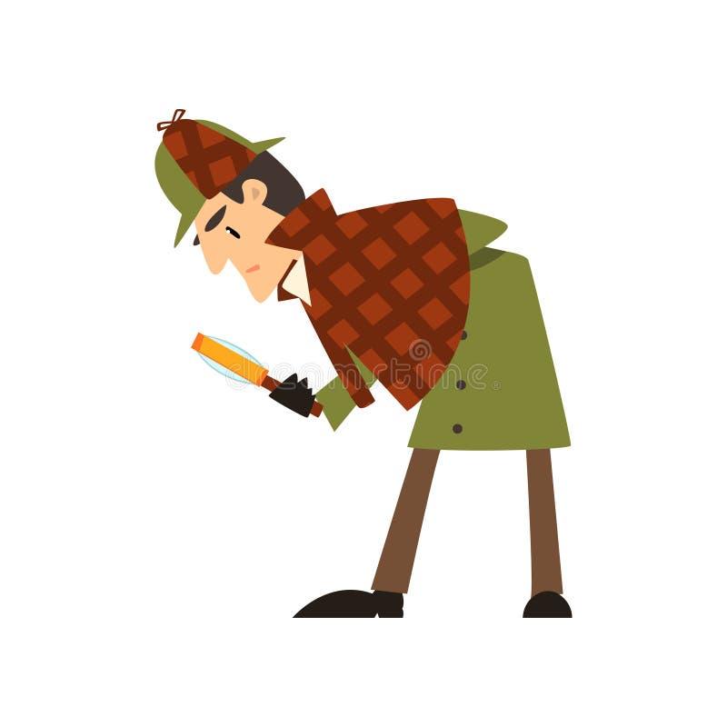 Caráter do detetive de Sherlock Holmes com ilustração do vetor da lupa em um fundo branco ilustração do vetor
