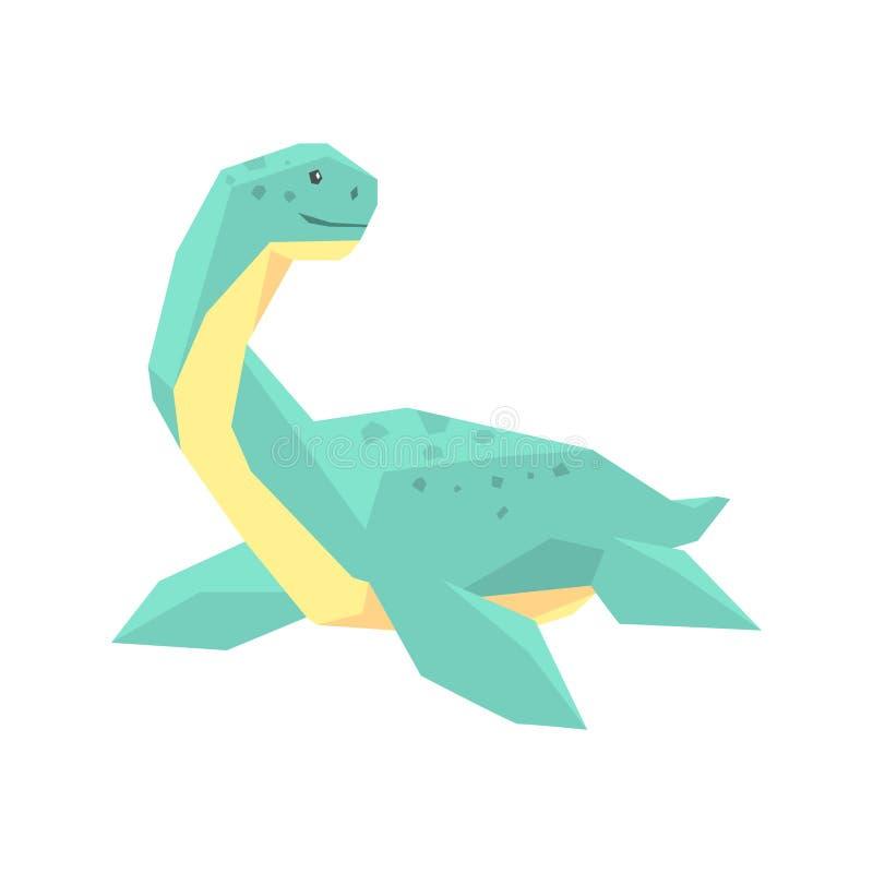 Caráter do dinossauro do elasmosaurus dos desenhos animados, ilustração animal do vetor do período jurássico ilustração stock