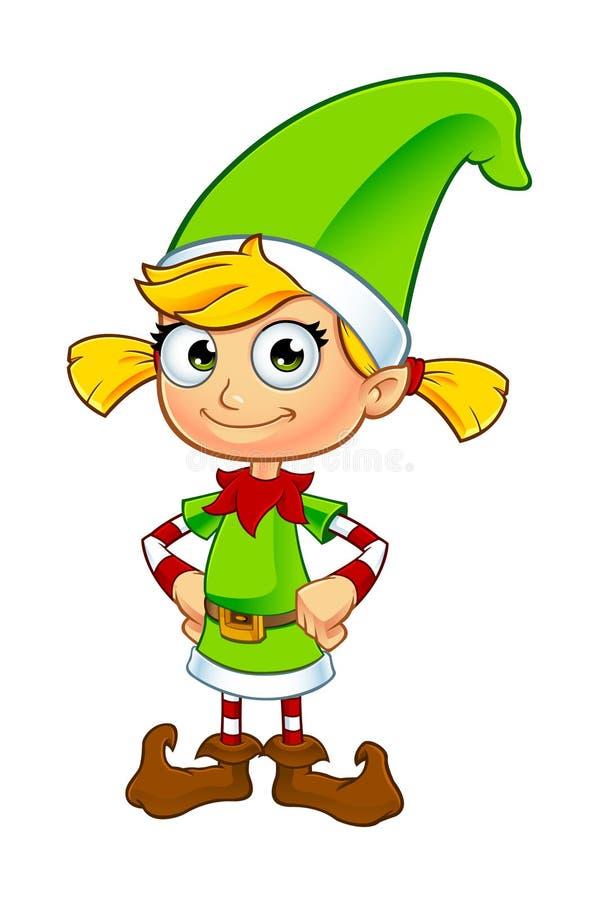 Caráter do duende da menina no verde ilustração do vetor