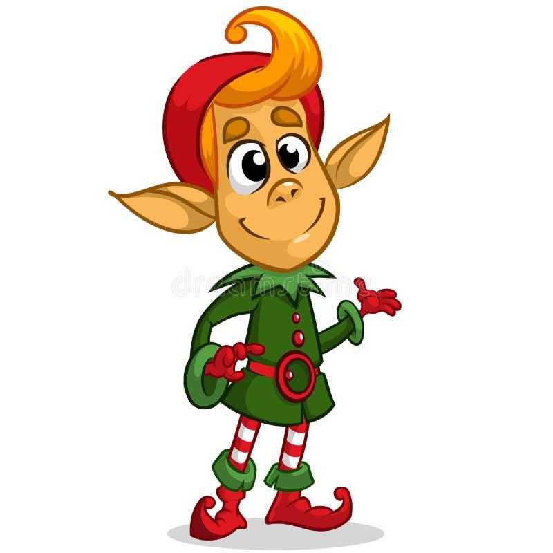 Caráter do duende do Natal no chapéu de Santa Ilustração do cartão do Natal com duende bonito ilustração stock