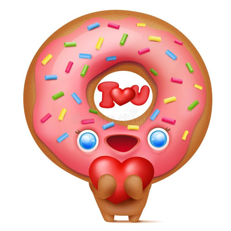 Caráter do emoji dos desenhos animados da filhós com coração em suas mãos ilustração stock