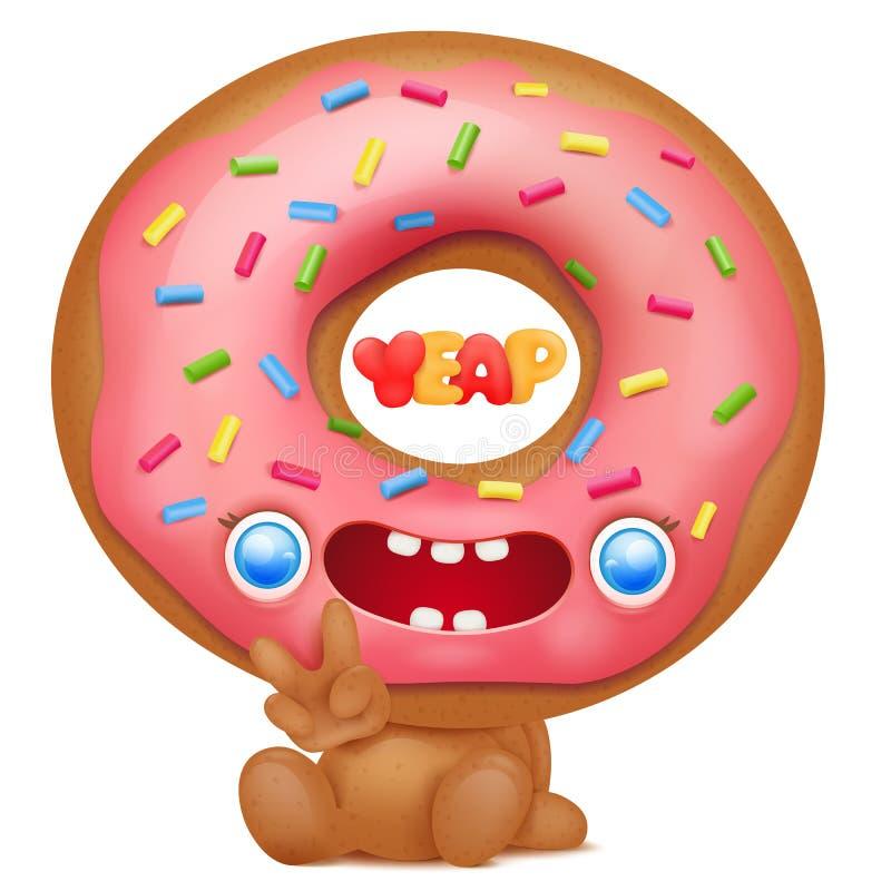Caráter do emoji dos desenhos animados da filhós que diz o yeap ilustração stock