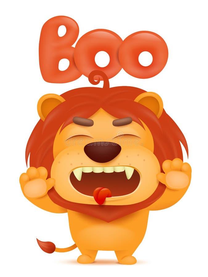 Caráter do emoji dos desenhos animados do leão que diz a vaia ilustração stock