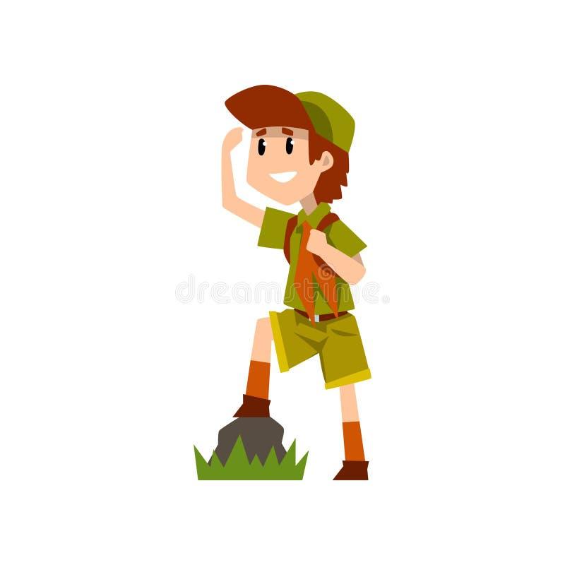 Caráter do escuteiro de menino no uniforme observando algo de uma distância, aventuras e a atividade exteriores da sobrevivência  ilustração do vetor
