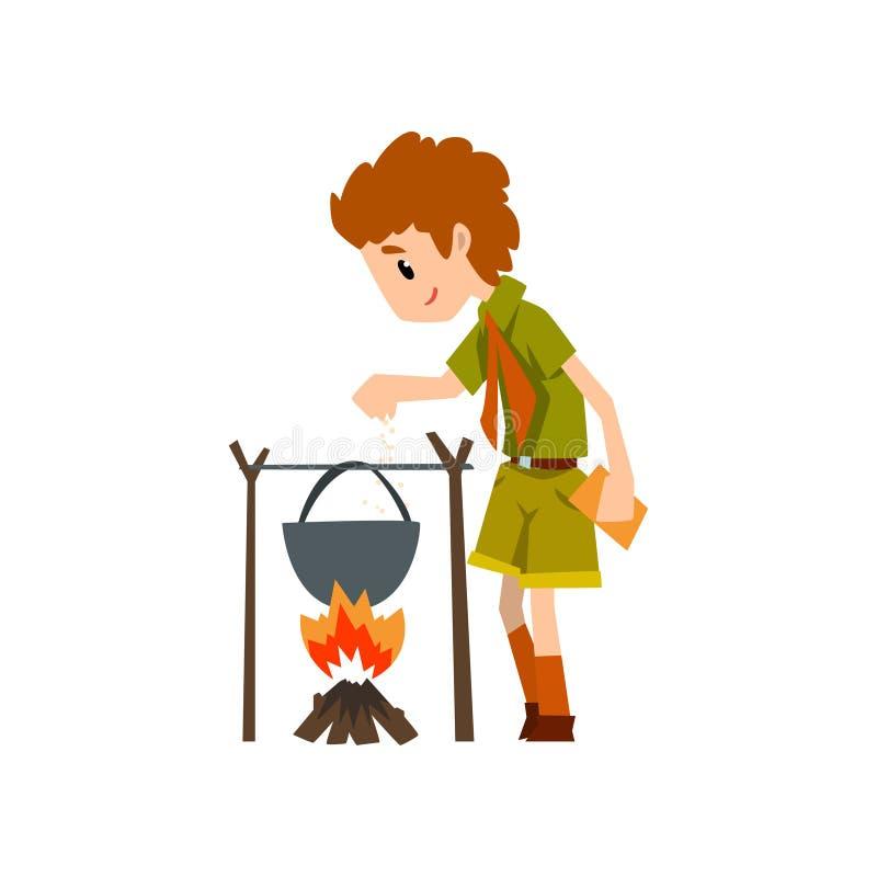 Caráter do escuteiro de menino no uniforme que cozinha o alimento no caldeirão sobre uma fogueira, umas aventuras exteriores e um ilustração stock