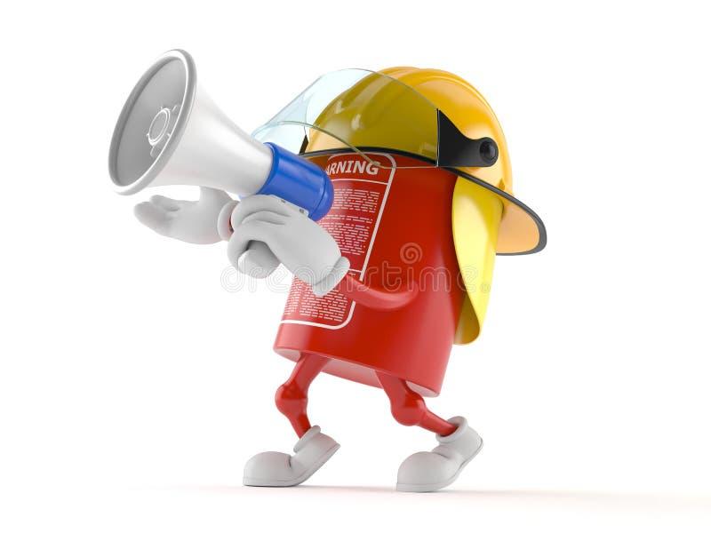 Caráter do extintor que fala através de um megafone ilustração do vetor