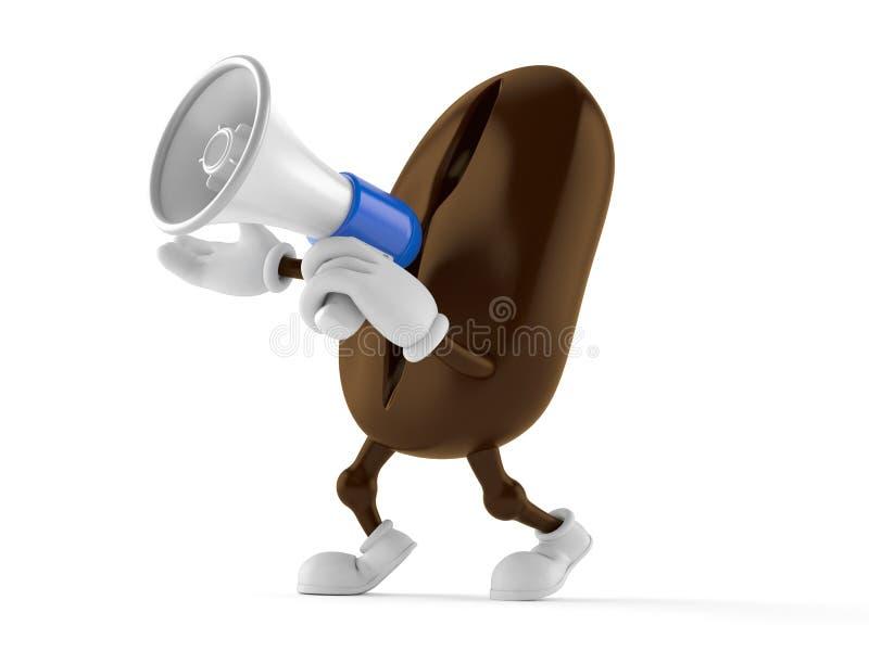 Caráter do feijão de café que fala através de um megafone ilustração stock