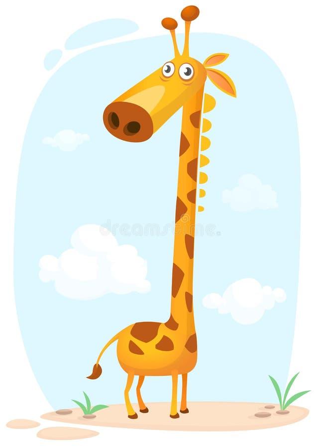 Caráter do girafa dos desenhos animados Ilustração do vetor isolada no fundo da natureza ilustração stock