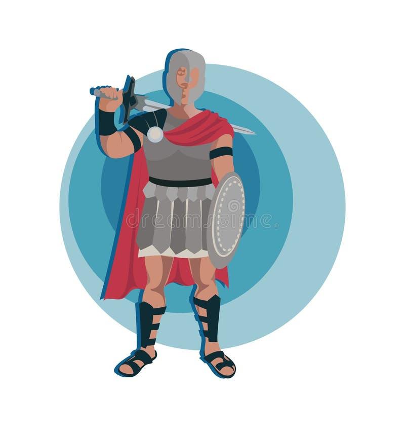 Car?ter do guerreiro de Roman do gladiador na armadura com uma espada e um protetor ilustração stock