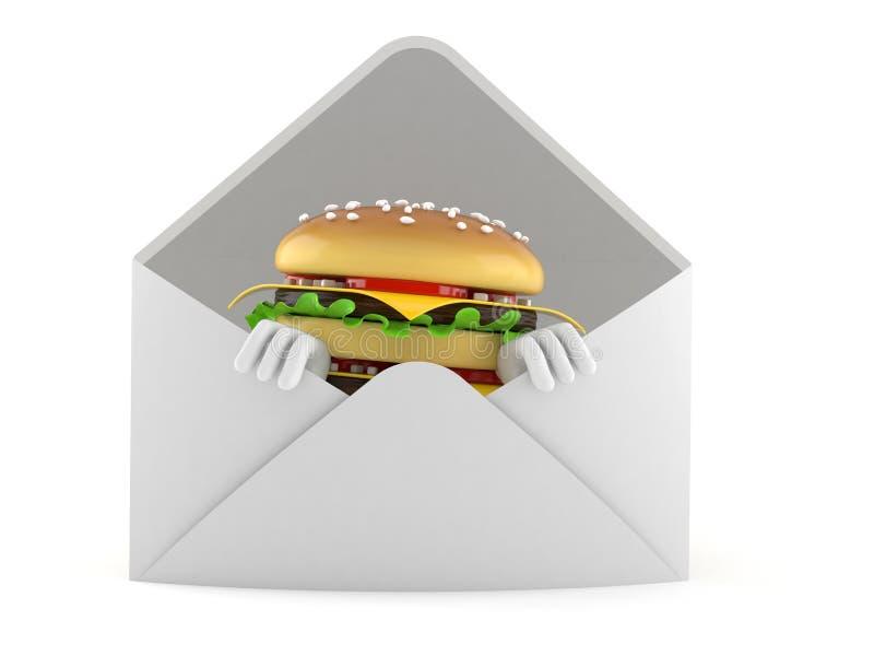 Caráter do Hamburger dentro do envelope ilustração stock