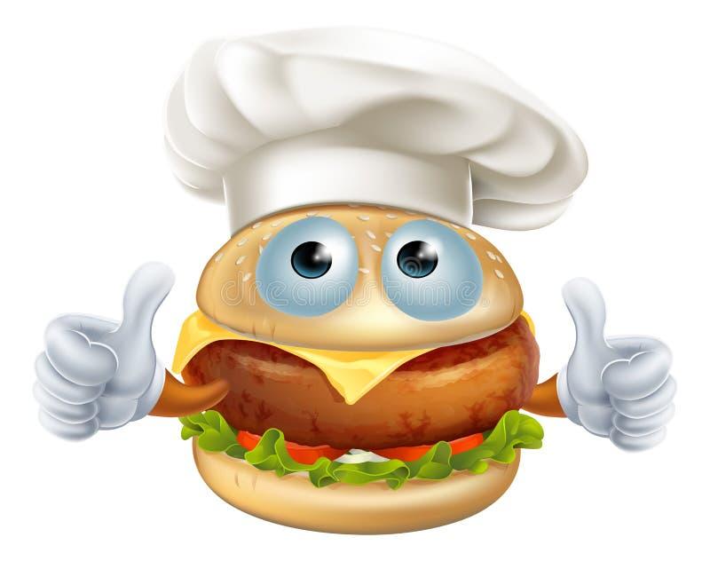 Caráter do Hamburger do cozinheiro chefe dos desenhos animados ilustração do vetor