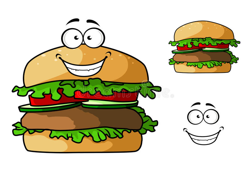 Caráter do Hamburger do fast food dos desenhos animados ilustração royalty free