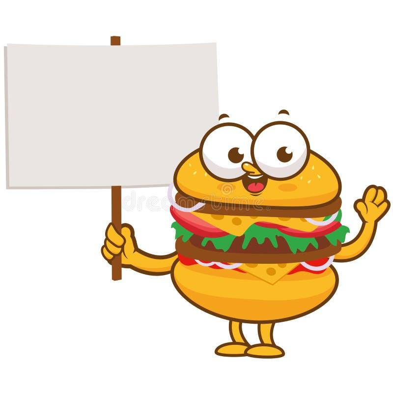 Caráter do hamburguer que guarda o sinal vazio ilustração royalty free