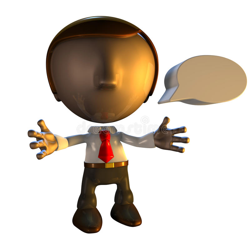 caráter do homem de negócio 3d com bolha do discurso ilustração royalty free