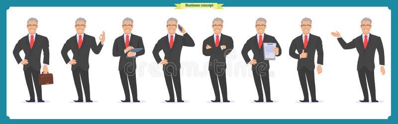 Caráter do homem de negócios Homem no terno de negócio ilustração stock