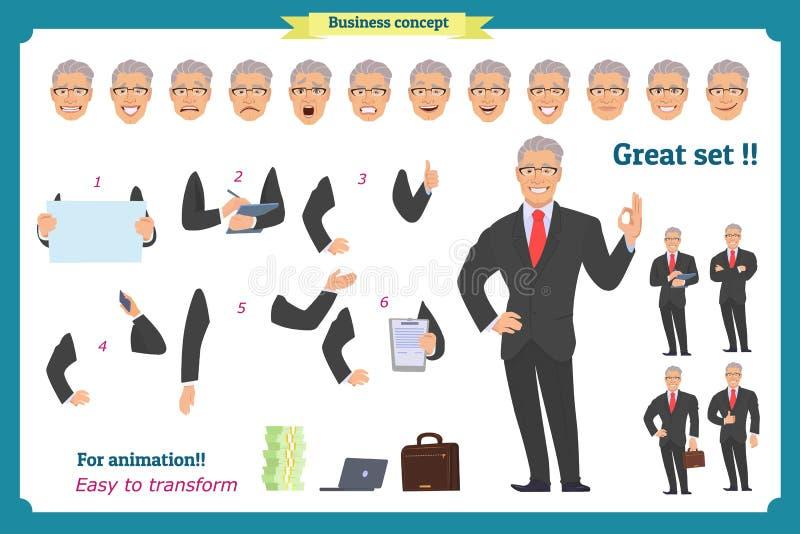 Caráter do homem de negócios Homem no terno de negócio ilustração do vetor
