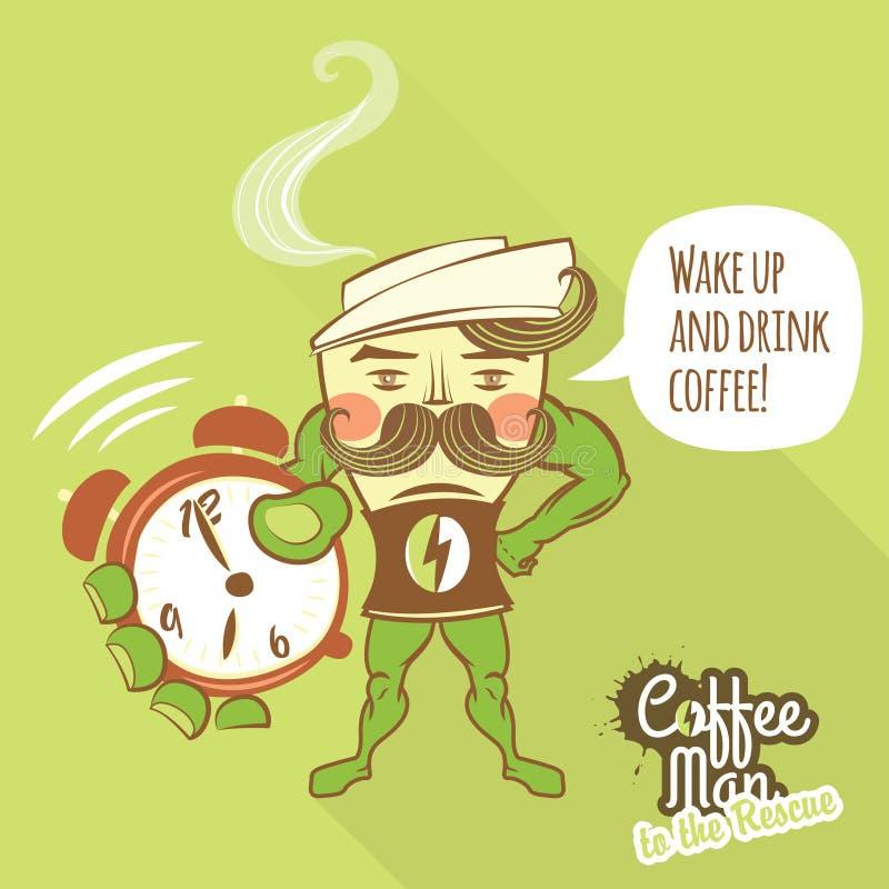 Caráter do homem do café que está com suas mãos nos quadris e no sho ilustração royalty free