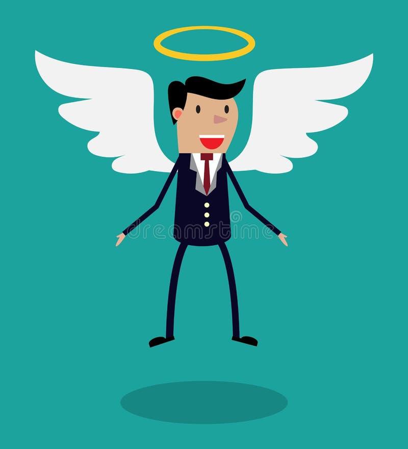 Caráter do homem dos desenhos animados no terno de negócio com asas ilustração stock