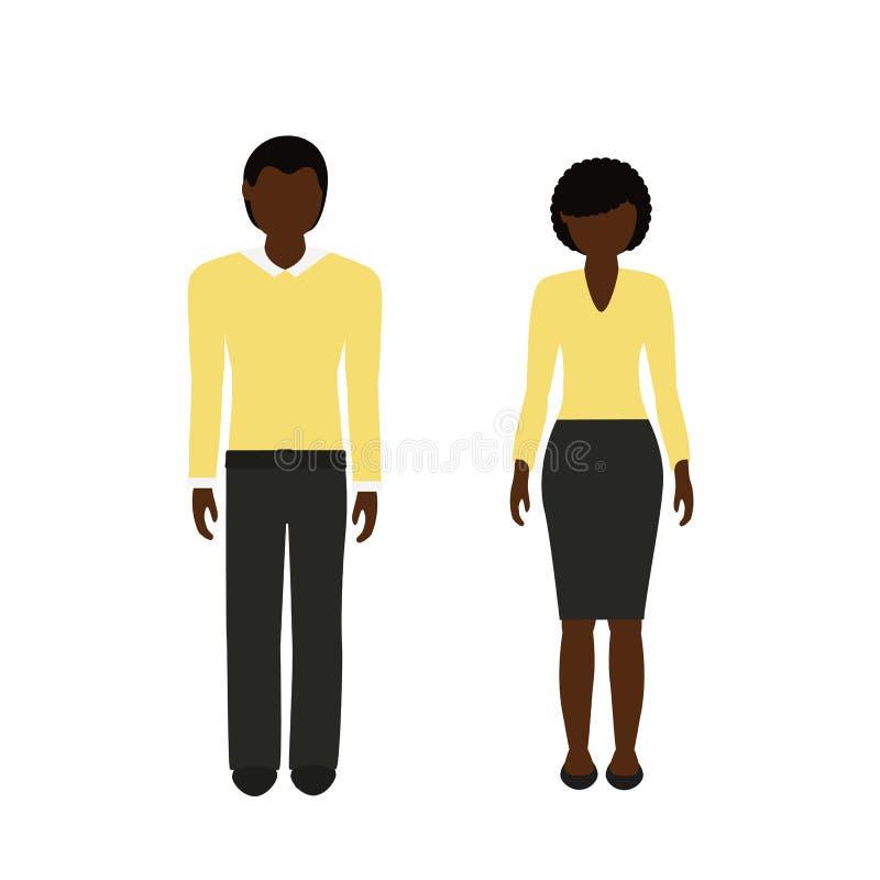 Caráter do homem e da mulher com o africano da cor da pele escura e do cabelo preto ilustração royalty free