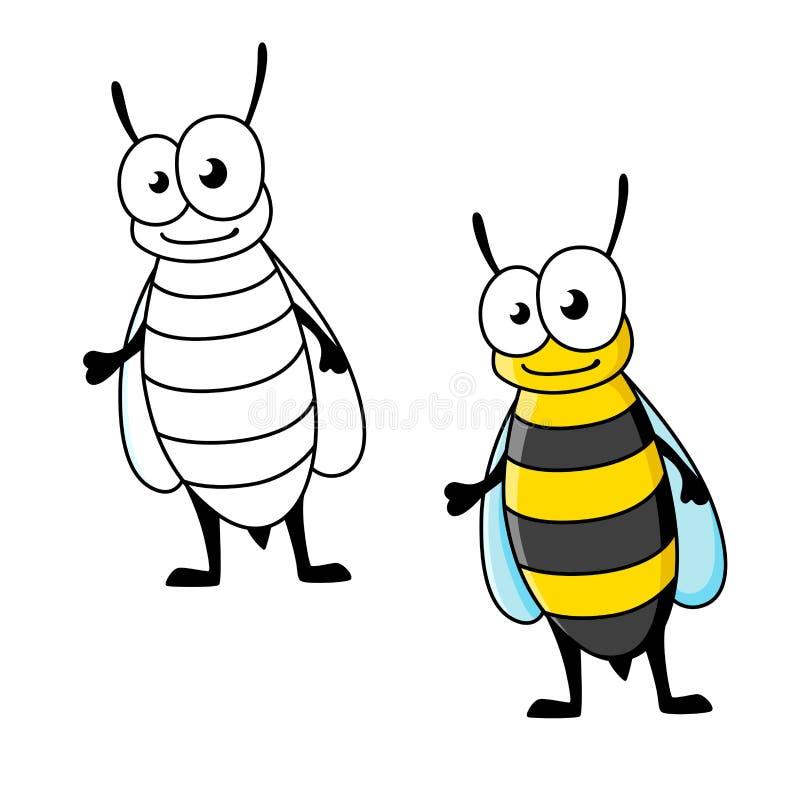 Caráter do inseto da vespa do revestimento amarelo dos desenhos animados ilustração do vetor