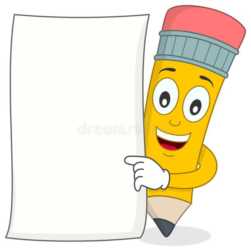 Caráter do lápis com papel vazio branco ilustração royalty free