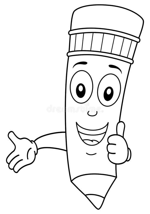 Caráter do lápis da coloração com polegares acima ilustração stock