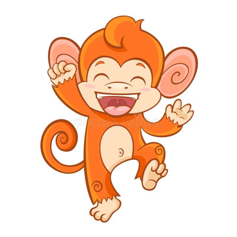 Caráter do macaco dos desenhos animados isolado no fundo branco ilustração royalty free