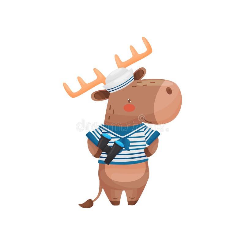 Car?ter do marinheiro dos cervos no estilo dos desenhos animados, em uma veste branca azul, viseira com bin?culos ? disposi? ilustração stock