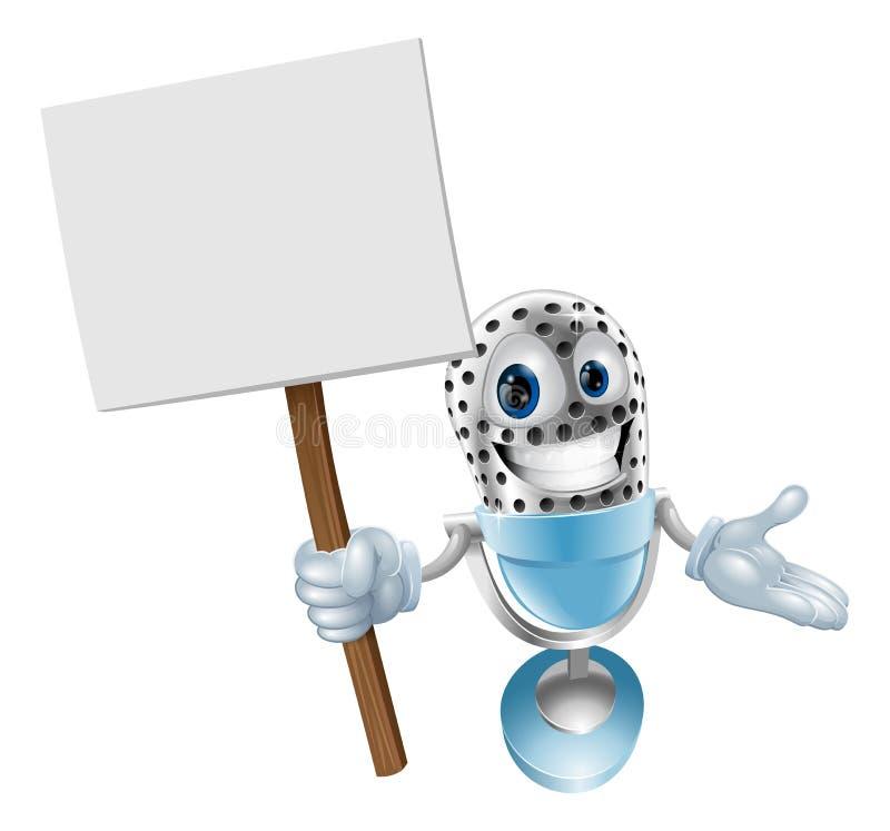 Caráter do microfone com sinal ilustração do vetor