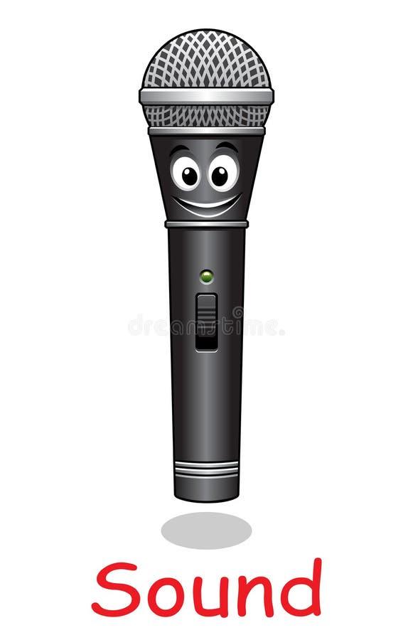 Caráter do microfone dos desenhos animados ilustração royalty free
