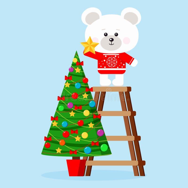 Caráter do Natal: o urso polar bonito na camiseta vermelha põe a estrela sobre uma parte superior da árvore de Natal decorada ilustração do vetor