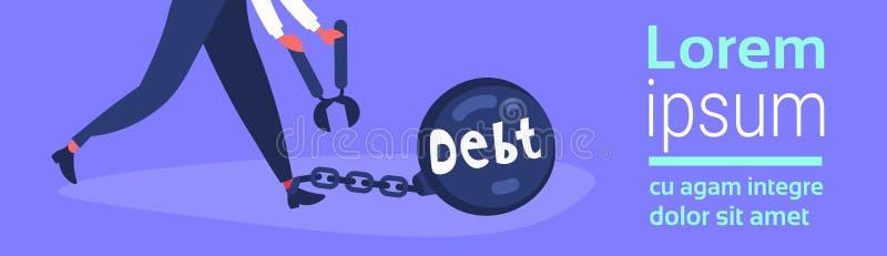 Caráter do negócio que mantém o conceito da solução do problema da crise da finança de débito do crédito do pé do limite da corre ilustração royalty free